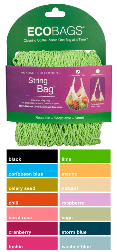 ECOBAGS Market Collection String Bag - Tote Handle. 14 colors available (Lime shown)