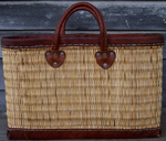 Medina Baskets Leather Trimmed Weave Tote