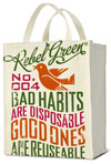 Rebel Green Bad Habits Shopping Tote