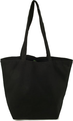 ECOBAGS GOTS Organic Cotton Reusable Canvas Tote Bag in Black